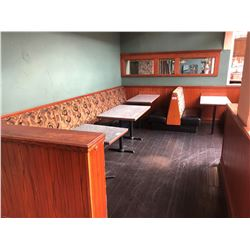 CORNER BOOTH SEATING  INCLUDES : 2 GRANITE WALL MOUNT TABLES, 7 - 2 PERSON BENCH SEATS