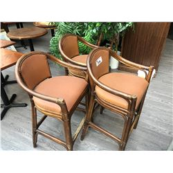 3 CANEBACK AND LEATHER BARSTOOLS