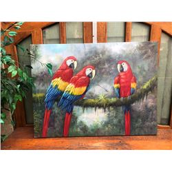 2 LARGE PARROT OIL ON CANVASS
