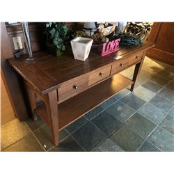 OAK 4 DRAWER HALL TABLE, COMES WITH DECOR ON TOP OF TABLE