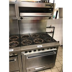 STAINLESS STEEL GARLAND 6 BURNER GAS STOVE WITH GARLAND BROILER OVEN