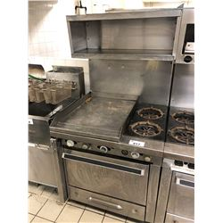 STAINLESS STEEL OVEN WITH 2 BURNERS AND GRIDDLE AND OVERHEAD PAN STORAGE