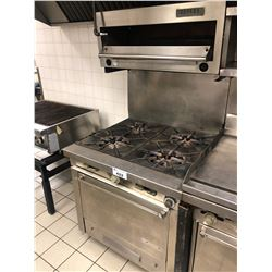 STAINLESS STEEL GARLAND 4 BURNER GAS STOVE WITH OVEN AND GARLAND BROILER