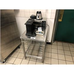 "STAINLESS STEEL 30"" X  21.5"" X 312""H BAKERS RACK, INCLUDES TOASTER OVEN, SCALE, CLOCK, BUG ZAPPERS"
