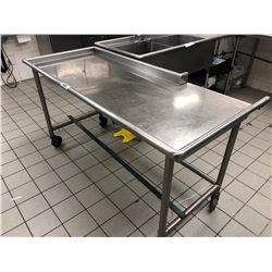 "STAINLESS STEEL 69.5"" X 32"" MOBILE WASH TABLE"