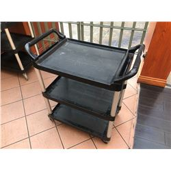BLACK RUBBERMAID 3 TIER UTILITY CART