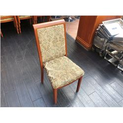 MAPLE FRAMED, CLOTH PAISLEY PATTERN PADDED DINING CHAIR