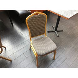 GOLD FRAMED, STRIPED PATTERN STACKING BANQUET CHAIR