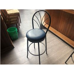 DARK GREY  METAL BAR STOOL WITH BLUE LEATHER SEATS