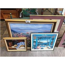 5 ASSORTED ARTWORK AND CANVASS