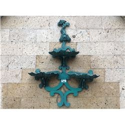 LARGE GREEN METAL 2 TIER WALL MOUNT WATER FOUNTAIN