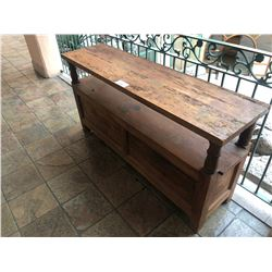 "66"" X 30""  RUSTIC WOOD HALL TABLE"