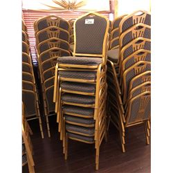 STACK OF 8 GOLD FRAMED METAL STRIPED BANQUET CHAIRS