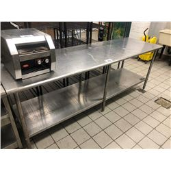 "STAINLESS STEEL 2 TIER 96"" X 30"" PREP TABLE"
