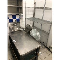 """STAINLESS STEEL AND WOOD 2 TIER PREP TABLE, 44"""" X 25"""" HAND WASH SINK, 2 FANS, AND 4 TIER METAL"""