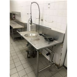 "STAINLESS STEEL 2 TIER PREP TABLE 96"" X 30"" AND SMALL RINSE COUNTER, HOBART GARBURATOR, AND RINSE"