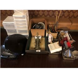 LOT OF ASSORTED KITCHENWARE, AND PICTURES