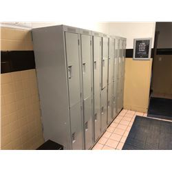 CONTENTS OF MENS CHANGE ROOM, INCLUDES: 2, 8 BAY METAL LOCKERS, 2 LARGE WOOD BENCHES, AND FLOOR