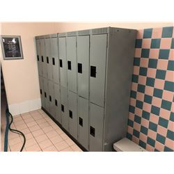 CONTENTS OF LADIES  CHANGE ROOM, INCLUDES: 2, 8 BAY METAL LOCKERS, 2 LARGE GREY WOOD BENCHES