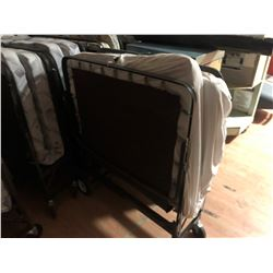 11 SINGLE MOBILE UPRIGHT COTS, COMPLETE WITH MATTRESS AND BOXSPRING
