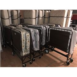 10 FOLDING SINGLE COTS WITH MATTRESSES