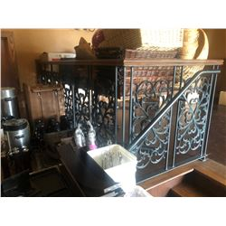 DARK WOOD AND BLACK WROUGHT IRON RAILINGS WITH STAIR RAIL