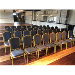 APPROX 40  GOLD AND STRIPED STACKABLE BANQUET CHAIRS