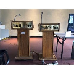 2, OAK PODIUMS WITH FLEXIBLE MIC STANDS