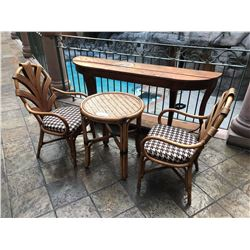 RATTAN CAFE TABLE WITH 2 RATTAN CHAIRS, INCLUDES RUSTIC WOOD HALL TABLE