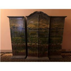 HAND PAINTED ARMOIRE WITH 2 SIDE CABINETS