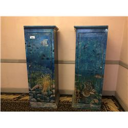2 HAND PAINTED SINGLE DOOR CABINETS