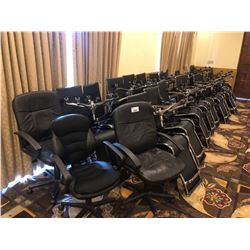 LARGE LOT OF APPROX 60 BLACK LEATHER AND CHROME MOBILE OFFICE CHAIRS