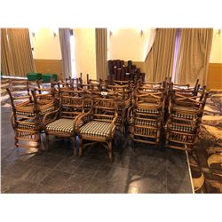 LOT OF APPROX 24 RATTAN CHAIRS, WITH CHECKER PATTERN CUSHIONS