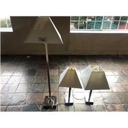 2 WHITE AND BRUSHED NICKEL POWERED TABLE  LAMPS & 1 MATCHING FLOOR LAMP