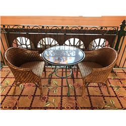 GRANITE CAFE TABLE WITH 2 RATTAN CHAIRS
