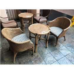 RATTAN CAFE TABLE WITH 2 RATTAN CHAIRS