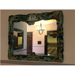 LARGE TROPICAL CARVED  FRAMED MIRROR