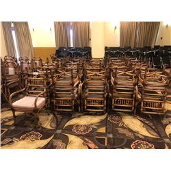 LOT OF APPROX 40 RATTAN CHAIRS, WITH STRIPED  PATTERN CUSHIONS