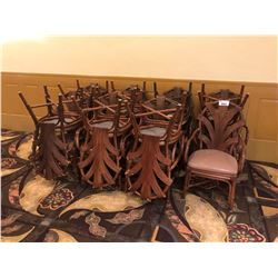 APPROX 15 RATTAN AND LEATHER CUSHIONED CHAIRS