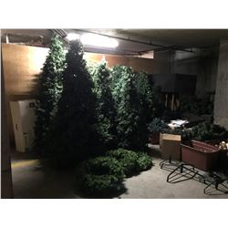 8 LARGE FAUX CHRISTMAS TREES, 3 LARGE WREATHS, GARLAND, LIGHTING, AND APPROX. 14 BINS OF ASSORTED