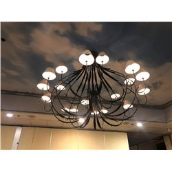 LARGE BLACK WROUGHT IRON CHANDELIER WITH LEAF MOTIF (LOCATED IN AUCTION ROOM)