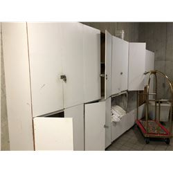 WHITE CABINETS WITH LINEN CONTENTS
