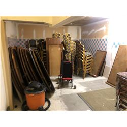CONTENTS OF STORAGE ROOM , BANQUET TABLES, CHAIRS