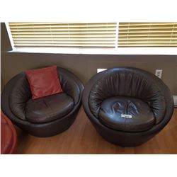 2 BLACK LEATHER CLUB CHAIRS
