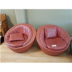 2 RED LEATHER CLUB CHAIRS