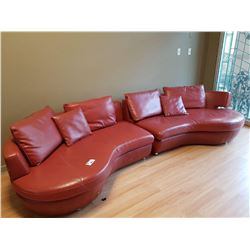 2 PIECE RED LEATHER SOFA