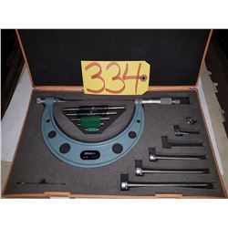 """Mitutoyo 104-137, 0-6""""  .001"""" Interchangeable Anvil Outside Micrometer Set"""