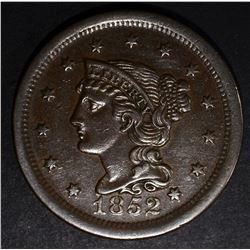 1852 LARGE CENT, AU/BU NICE!