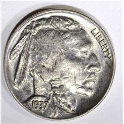 1937 BUFFALO NICKEL, GEM BU