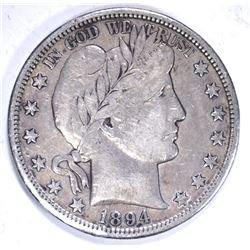 1894-S BARBER HALF DOLLAR, VF/XF